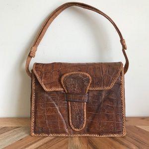 Vintage Brown Leather Alligator Satchel Bag